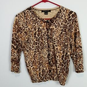 August Silk Animal Print Button Up Cardigan Size S